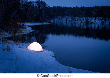 alloggio, posizione, inverno, estremo, notte