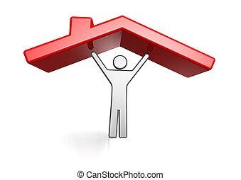 alloggio, tetto, uomo