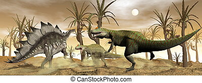 Allosaurus and stegosaurus dinosaurs fight - 3D render - Two...