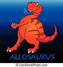 Allosaurus cute charcater dinosaurs illustration