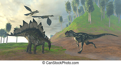 Allosaurus Hunt - Two Archaeopteryx birds call in alarm as...