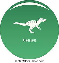 Allosaurus icon vector green