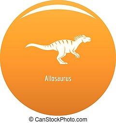 Allosaurus icon vector orange
