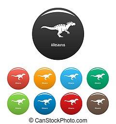 Allosaurus icons set color
