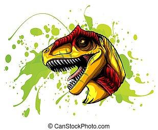 allosaurus, kreslení, animální, vektor, ilustrace, head.