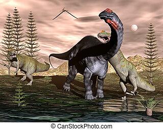 allosaurus, render, apatosaurus, -, dinosaure, attaquer, 3d