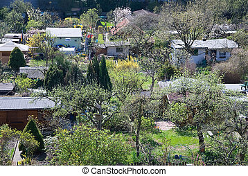 allotment gardens in berlin in spring