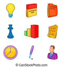 Allotment icons set, cartoon style