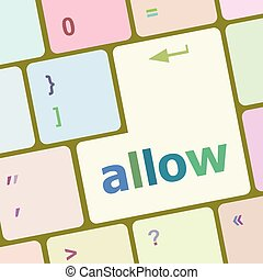 allow words concept with key on keyboard vector illustration