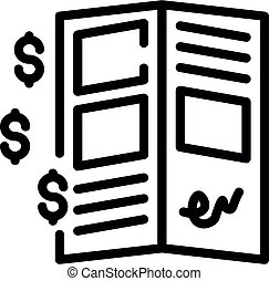 Allowance money document icon, outline style