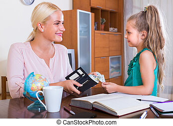Allowance of pocket money: cute little girl and mother with purse.