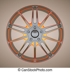 Alloy disc or wheel of sportcar. Black and red. Large resolution