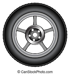 alloy wheel 2 - alloy wheel tyre against white background,...