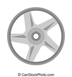 Alloy wheel front view icon engine garage equipment. Chrome car vector service isolated white
