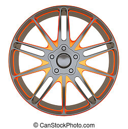 Alloy wheel or disc of sportcar isolated over white (custom rendered)