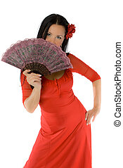 allruning babe with hand fan isolated