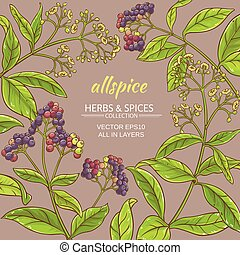 allspice vector frame - allspice branches vector frame on...