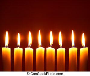 allumé, huit, bougies