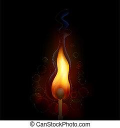 allumette, brûler, flamme