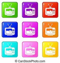 allumette, ensemble, 9, tv, football, icônes