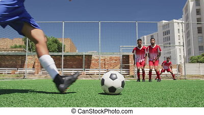 allumette, joueurs, avoir, champ football
