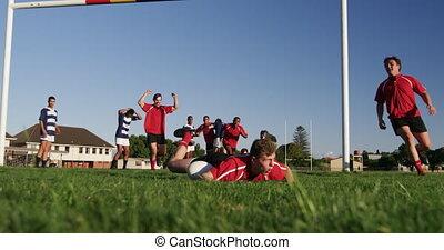 allumette, joueurs, avoir, champ rugby