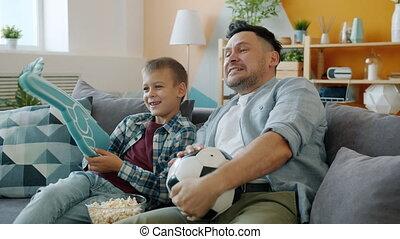 allumette, maison, père, regarder, enfant, ventilateurs, ...