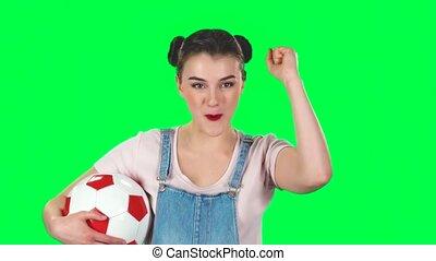 allumette, vert, sien, football, motion., studio, regarder, favori, bonne disposition, équipe, femme, lent, quoique, balle, écran