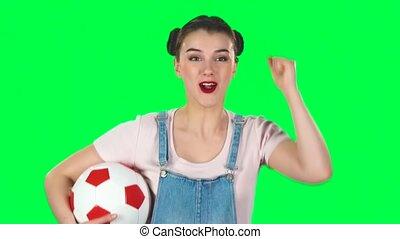 allumette, vert, sien, football, motion., studio, regarder, favori, bonne disposition, girl, équipe, lent, quoique, balle, écran