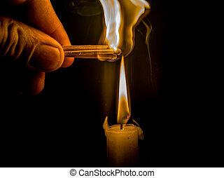 allumettes, lumière, brûlé, bougie