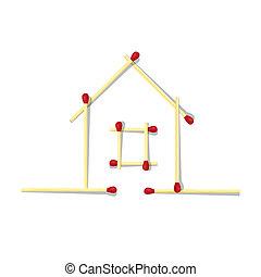 allumettes, maison, symbole, fait