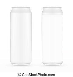 alluminio, 500ml, bevanda, metallo, due, isolato, fondo., bibita può, bianco, etichetta, without.