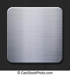 alluminio, piastra metallo, su, carbonio