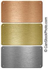 alluminio, rame, e, ottone, metallo, piastre, con, chiodi,...