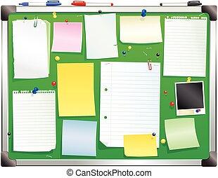Alluminium framed green bulletin board.eps - An illustration...