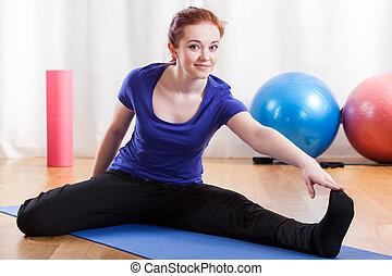 allungamento donna, secondo, allenamento