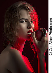 allure woman with red apple - sexy woman with allure...