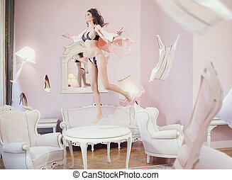 Alluring and sensual jumping woman - Alluring and sensual...