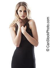 alluring blond girl in black
