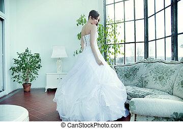 Alluring brunette bride waiting for wedding