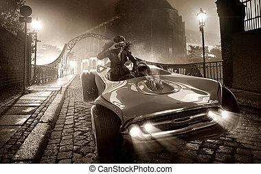 Alluring female driver in retro car - Alluring female driver...