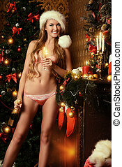 alluring santagirl - Sexy young woman in beautiful lingerie...