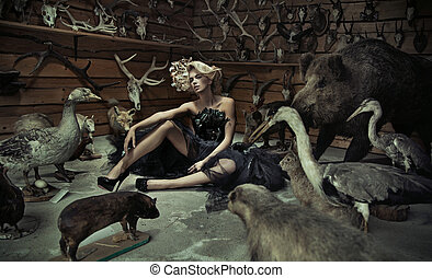 Alluring woman with wild animals - Alluring lady with wild...