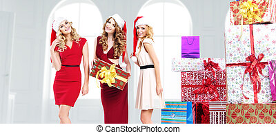 Alluring young women with gifts - Alluring young women with...