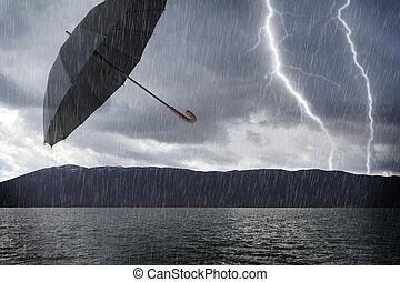 alluvionato, tempestoso, paesaggio, e, volare, ombrello, aria