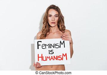 allvarlig, kvinna, feminist, holdingen, nameplete, nära