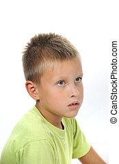 allvarlig, pojke, med, hår, och, grå, ögon