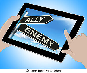 Ally Enemy Tablet Shows Friend Or Adversary - Ally Enemy...