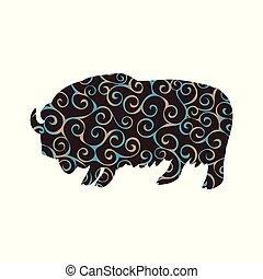 almíscar, silueta, cor, padrão, boi, espiral, animal, touro, mamífero