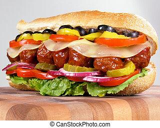 almôndega, sanduíche, submarino